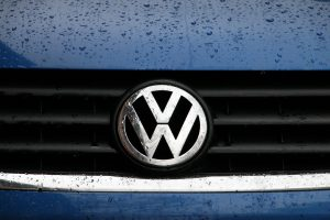 Volkswagon logo on front grill of Jetta